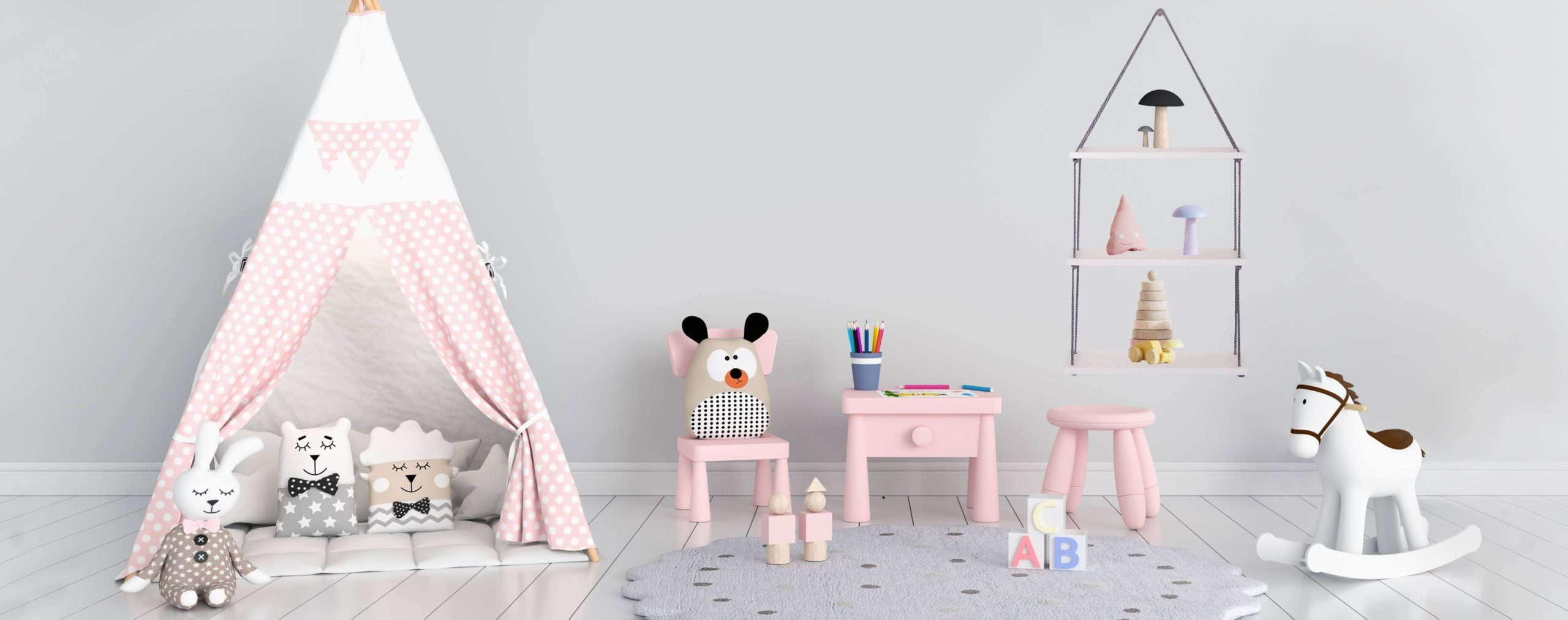 półka wisząca w pokoju dziewczynki